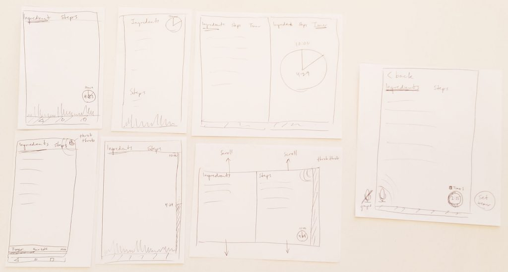 Companion app wireframes from design studio