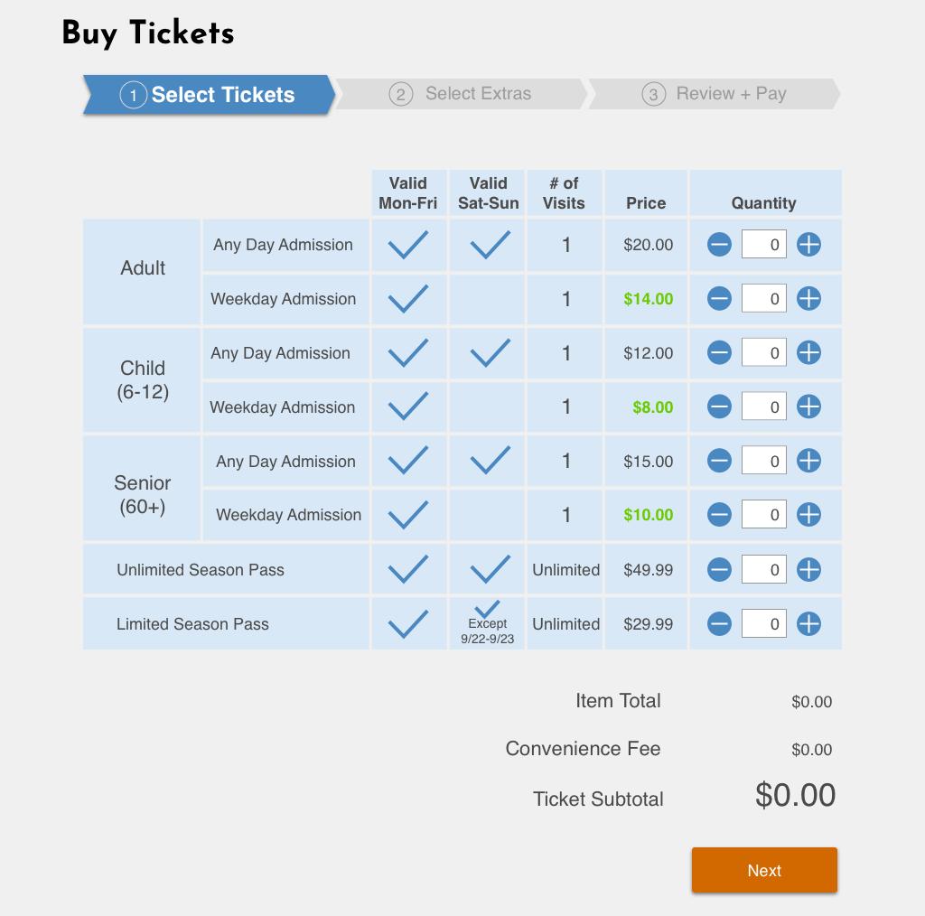 LACF ticket comparison table