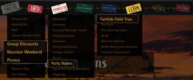 original LACF groups menus