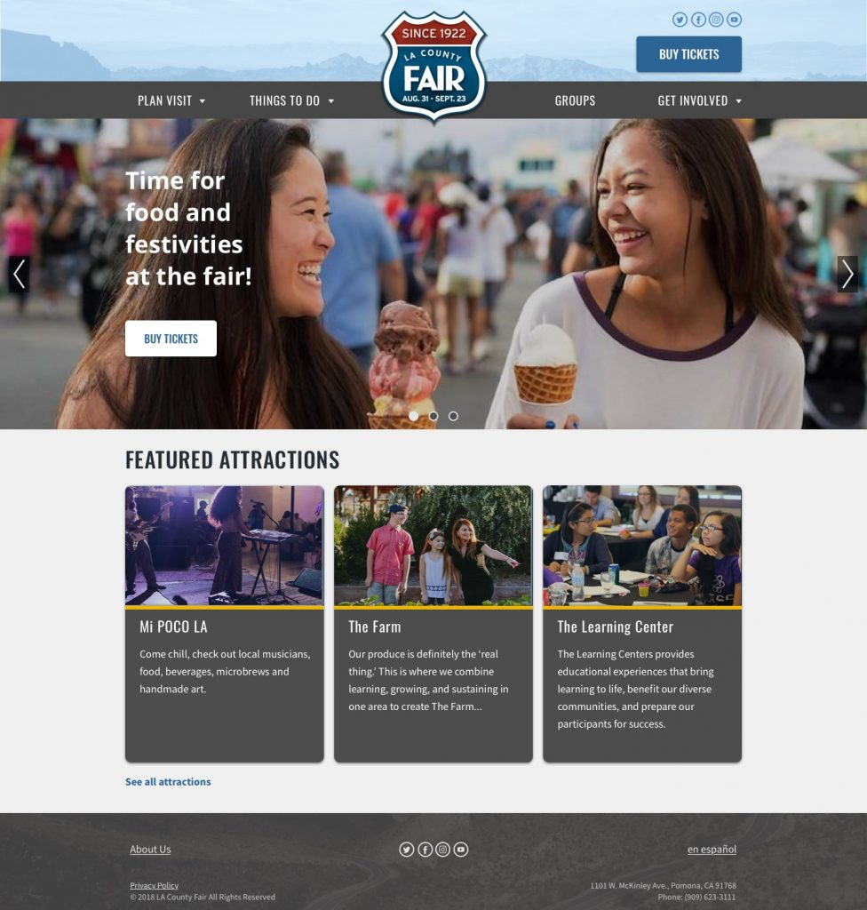 Redesigned LACF home page